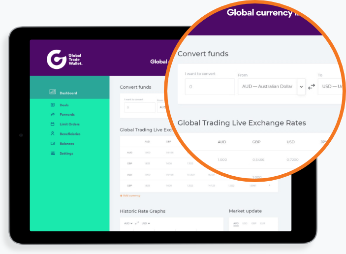 Preview Inside Portal – currency transfers